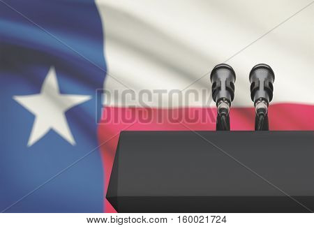 Pulpit And Two Microphones With Usa State Flag On Background - Texas