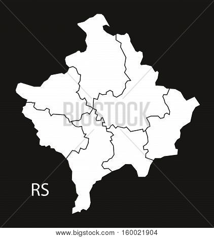 Kosovo districts Map black white country silhouette illustration
