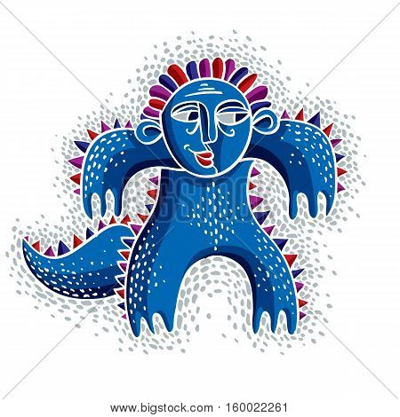 Vector Cool Cartoon Smiling Monster, Simple Weird Blue Creature. Clipart Mythic Character For Use In