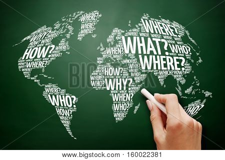Question Words World Map in Typography word cloud business concept on blackboard