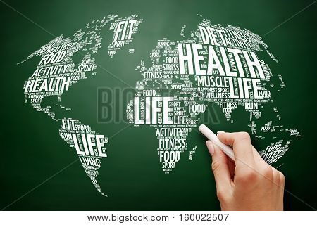 Health and Life World Map in Typography sport health fitness word cloud health concept on blackboard