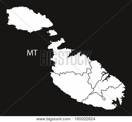 Malta districts Map black white country silhouette illustration
