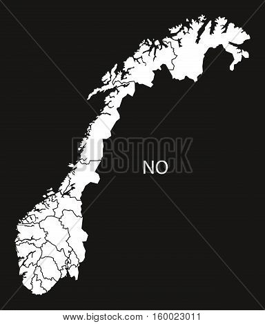 Norway counties Map black white country silhouette illustration