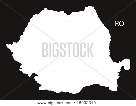 Romania Map black white country silhouette illustration