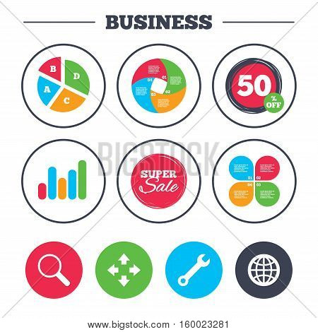 Business pie chart. Growth graph. Magnifier glass and globe search icons. Fullscreen arrows and wrench key repair sign symbols. Super sale and discount buttons. Vector