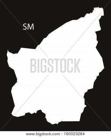 San Marino Map black white country silhouette illustration