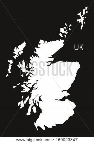 Scotland Map black white country silhouette illustration