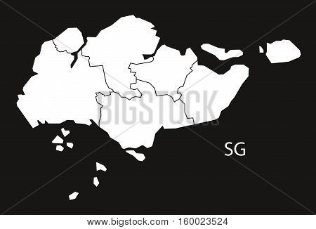 Singapore regions Map black white country silhouette illustration