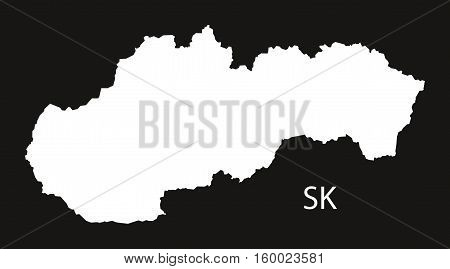 Slovakia Map black white country silhouette illustration