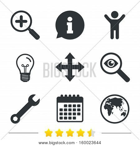 Magnifier glass and globe search icons. Fullscreen arrows and wrench key repair sign symbols. Information, light bulb and calendar icons. Investigate magnifier. Vector