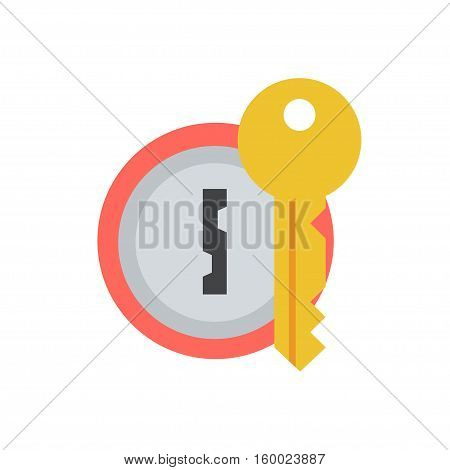 Door lock with key vector icon in a flat style. Concept security symbol security or confidentiality. Round keyhole key isolated from the background. Sign lock password or code.