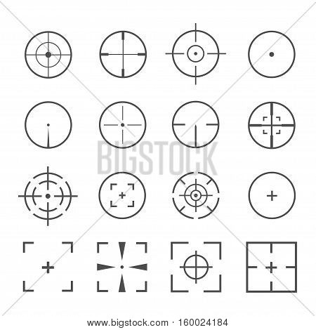 Crosshairs icon vector set isolated on a background. Round and square crosshairs for video games and applications. Simple different sniper crosshairs in a flat linear style.