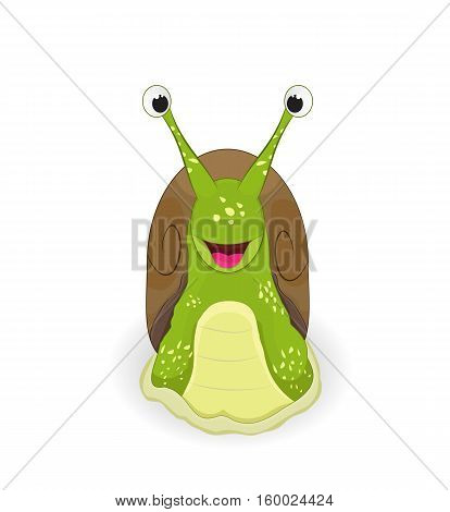 cartoon cute snail smiling isolated on white background