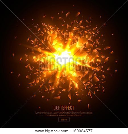 3D illuminated abstract explosion glowing particles. Sunlight neon blast background. Vector illustration.