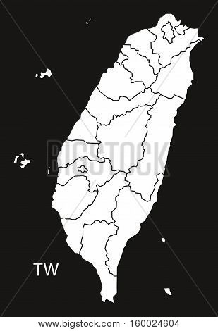 Taiwan with counties Map black white country silhouette illustration