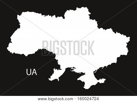 Ukraine Map black white country silhouette illustration