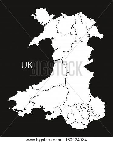 Wales Map with regions black white country silhouette illustration