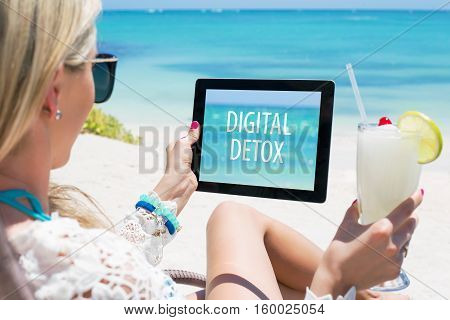 Digital Detox Concept on tablet computer in womans hand