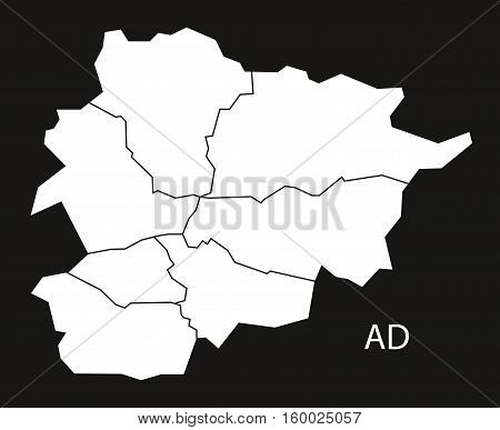 Andorra with districts Map black white country silhouette illustration