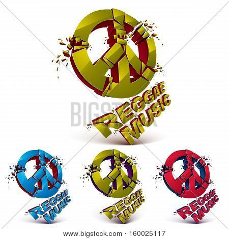 Green, Blue And Orange 3D Vector Peace Signs Collection Created From Refractions Isolated On White.
