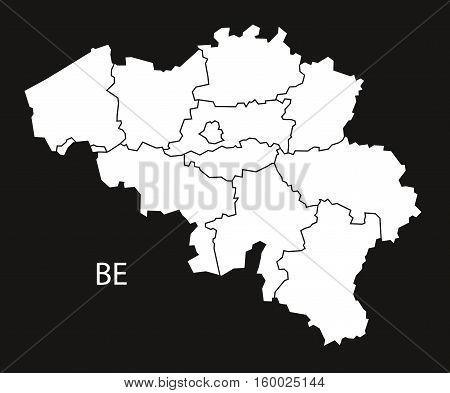 Belgium regions Map black white country silhouette illustration