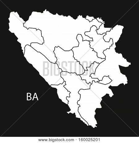 Bosnia Hercegovina regions Map black white country silhouette illustration