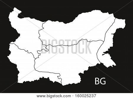 Bulgaria provinces Map black white country illustration