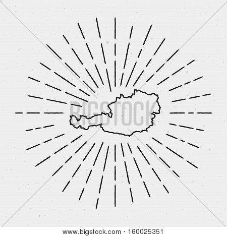 Retro Sunburst Hipster Design. Austria Map Surrounded By Vintage Sunburst Rays. Trendy Hand Drawn Su