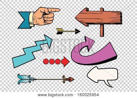 Retro set of arrows on a transparent background. Pop art  illustration