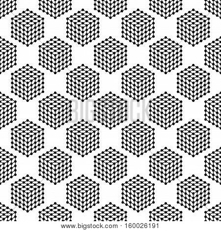 Abstract seamless pattern with cubes of lines and dots. Modern stylish texture. Geometric background