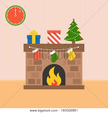 Decorated fireplace and present boxes with socks, Christmas tree, flat design vector