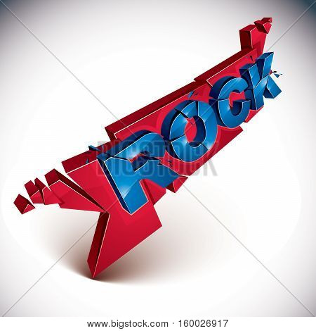 3D Rock Word Broken Into Pieces, Demolished Vector Design Element. Shattered Art Stylish Inscription
