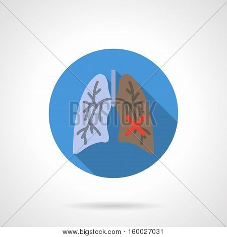 Symbol of comparative between healthy and diseased lung. Smoker internal organs. Illness of respiratory system, cancer, consequences of smoking. Round blue flat color design vector icon.