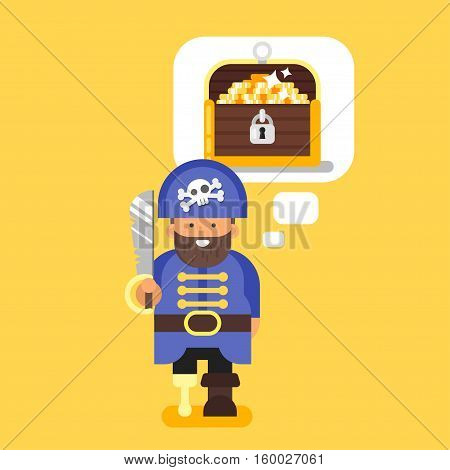 Vector flat style illustration of pirate and treasure chest. Isolated on yellow background.
