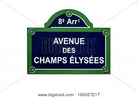 The Avenue des Champs Elysees street sign,  situated in the 8th arrondissement of Paris, France. One of the most famous streets in the world. Isolated on white background.