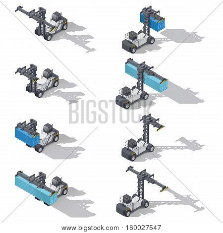 Full container port heavy loader with and without cargo isometric icon set vector graphic illustration