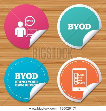 Round stickers or website banners. BYOD icons. Human with notebook and smartphone signs. Speech bubble symbol. Circle badges with bended corner. Vector