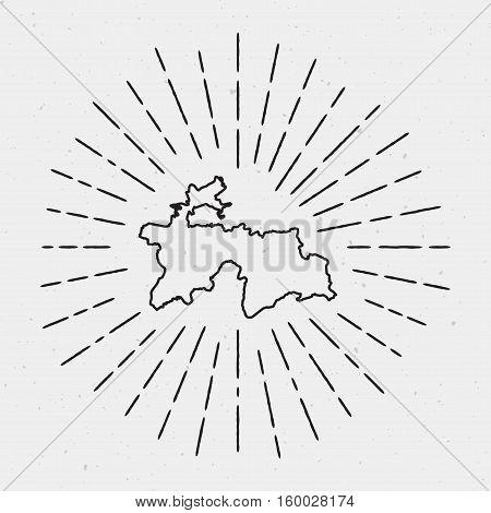 Vector Tajikistan Map Outline With Retro Sunburst Border. Hand Drawn Hipster Decoration Element. Bla