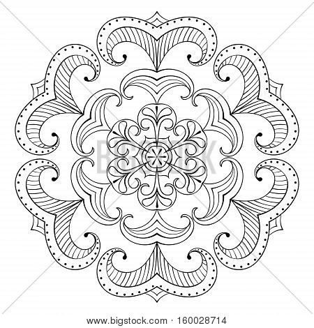 Vector snow flake in zentangle style, paper cutout mandala for adult coloring pages. Ornamental freehand winter illustration for decoration. Christmas greeting card element, invitation template.