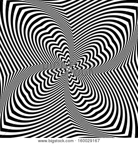 Abstract op art design. Torsion rotation movement. Vector illustration.