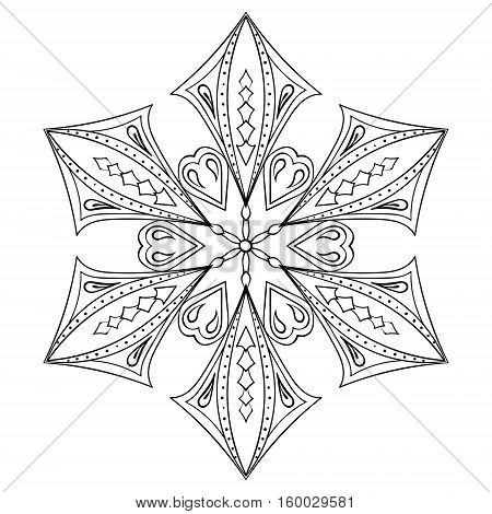 Zentangle elegant snow flake for adult coloring pages. Vector ornamental winter illustration for decoration, Christmas greeting cards, invitation template.