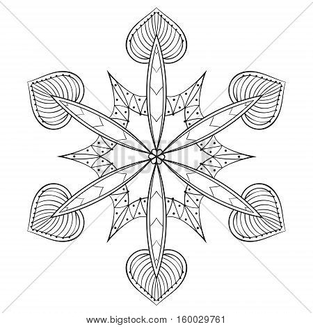 Vector zentangle elegant snow flake, mandala for adult coloring pages. Ornamental winter illustration for decoration, Christmas greeting cards, invitation template.