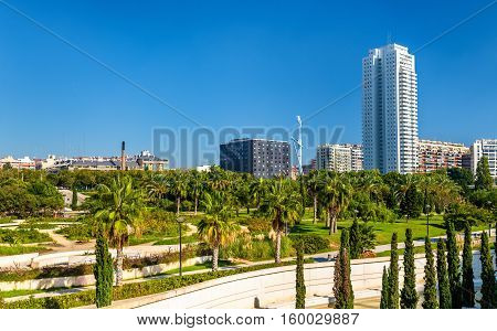 View of the Turia Gardens in Valencia - Spain