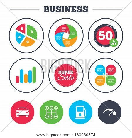 Business pie chart. Growth graph. Transport icons. Car tachometer and manual transmission symbols. Petrol or Gas station sign. Super sale and discount buttons. Vector