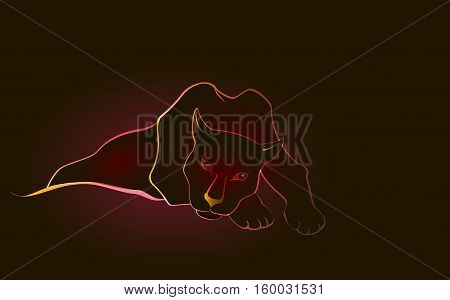 Lying sweetheart black Panther on a dark background. EPS10 vector illustration.