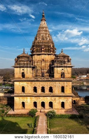 Indian tourist attraction and landmark - royal cenotaphs of Orchha. Orchha, Madhya Pradesh, India
