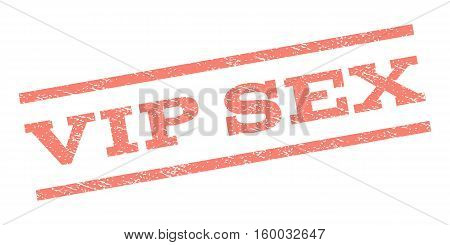 Vip Sex watermark stamp. Text caption between parallel lines with grunge design style. Rubber seal stamp with scratched texture. Vector salmon color ink imprint on a white background.