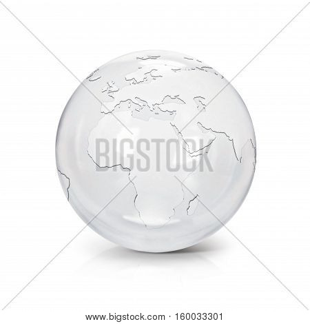 Clear glass globe 3D illustration europe and africa map on white background