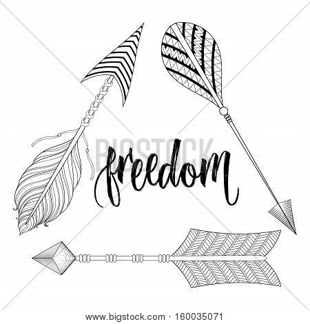 Boho chic ethnic Dreamcatcher with Feathers, Arrows, freedom calligraphy, hipster concept. American native style, zentangle illustration for adult coloring pages, t-shirt tribal print. Tattoo design.