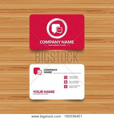 Business card template with texture. Chat sign icon. Speech bubble with three dots symbol. Communication chat bubble. Phone, web and location icons. Visiting card  Vector